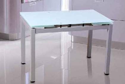 Mesa de cristal blanco templado extensible – Cocinas Moduvalkit